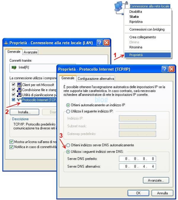 cambiare dns windows xp