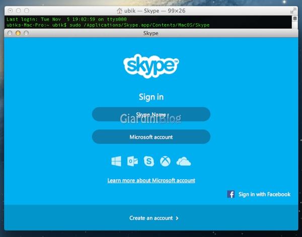 skype da terminale mac