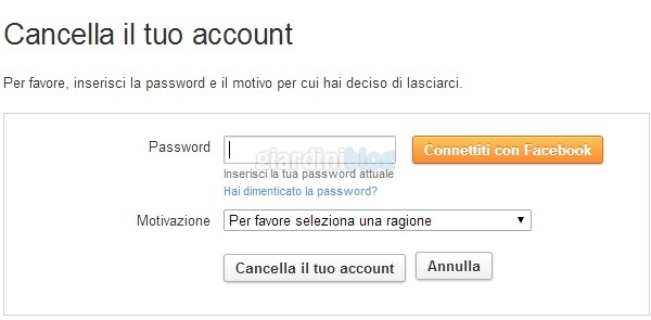 cancella account twoo password