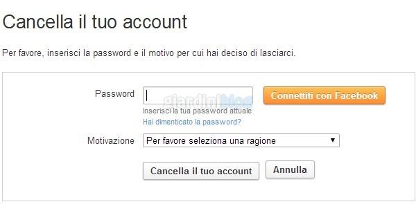 cancella account twoo password