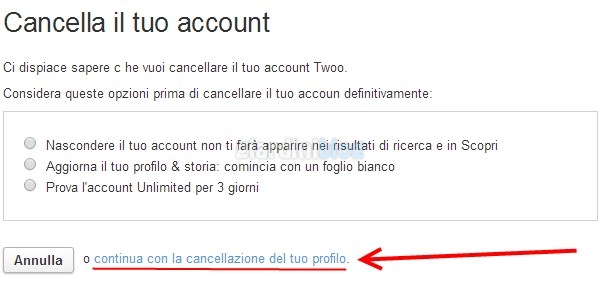come cancellarsi da twoo