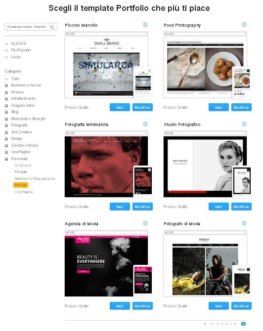 template sito web