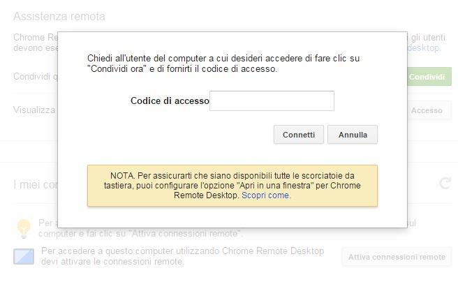 Chrome Remote Desktop codice di accesso