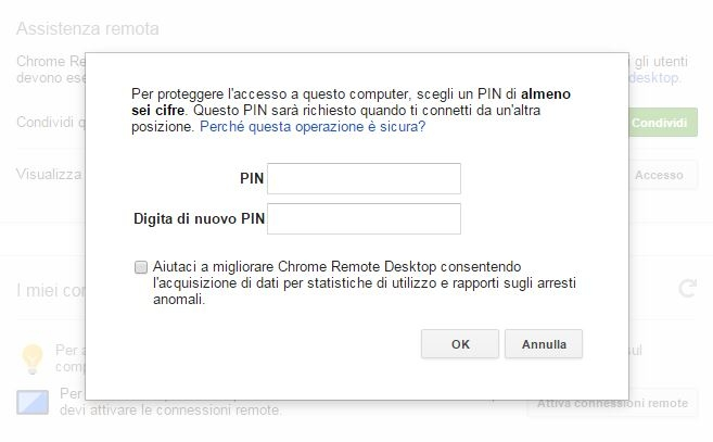 Chrome Remote Desktop connessioni remote pin