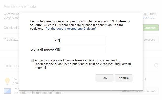 Chrome Remote Desktop connessioni remote pin
