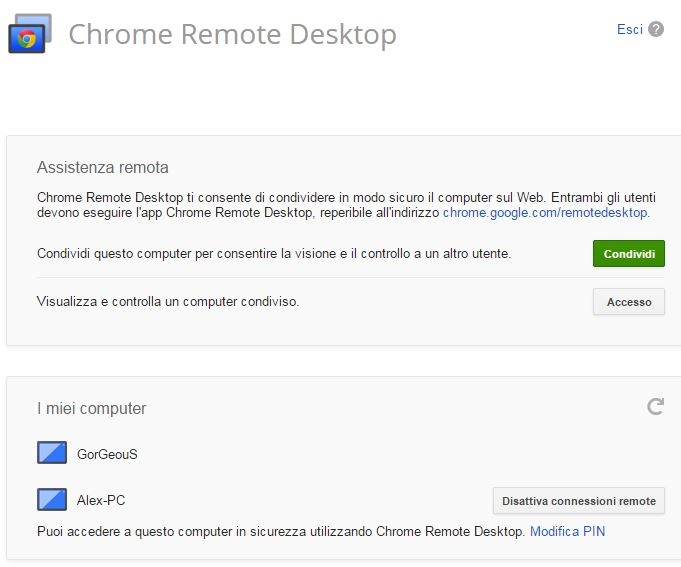 Chrome Remote Desktop i miei computer