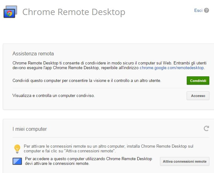 Chrome Remote Desktop iniziare 2