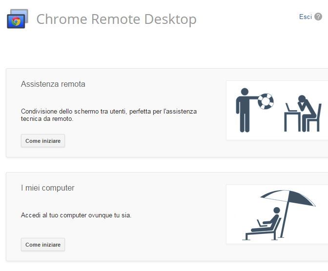 Chrome Remote Desktop iniziare