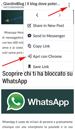 come aprire con browser interno facebook