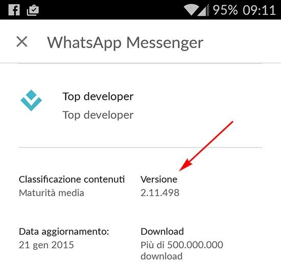 whatsapp ultima versione