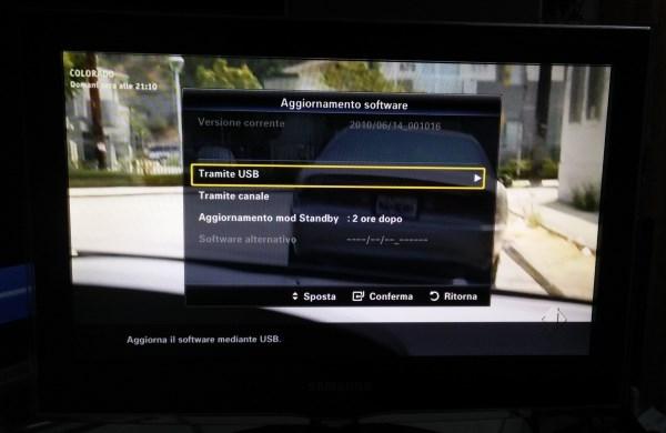 aggiornare firmware tv samsung tramite canale