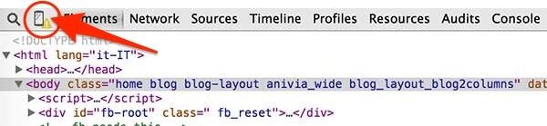 clic su icona cellulare per visualizzare versione mobile di un sito web