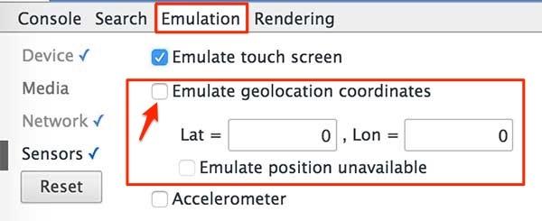impostare latitudine e longitudine per emulare la posizione geografica con google chrome