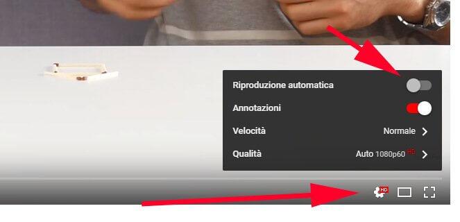 come disabilitare riproduzione automatica video youtube
