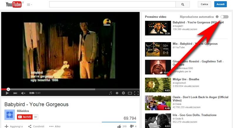 attivare riproduzione automatica video su youtube