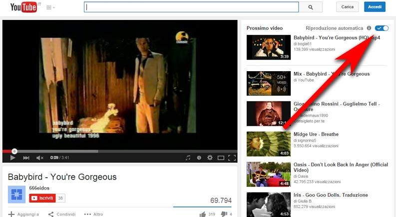 diattivare riproduzione automatica video su youtube