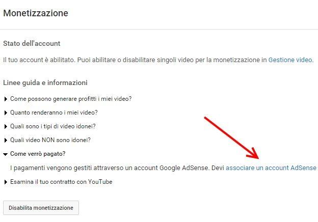 associare account youtube a adsense
