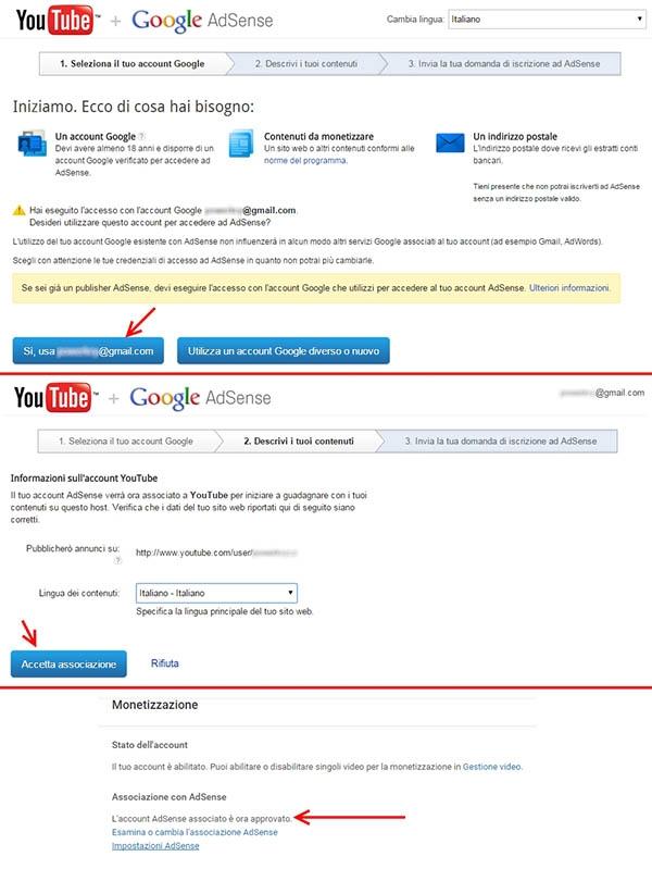 associazione youtube adsense
