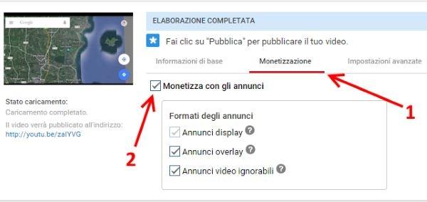 attivare monetizzazione video