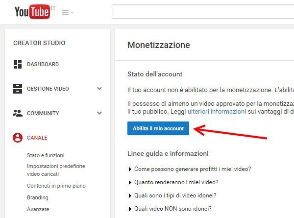 come attivare monetizzazione video youtube