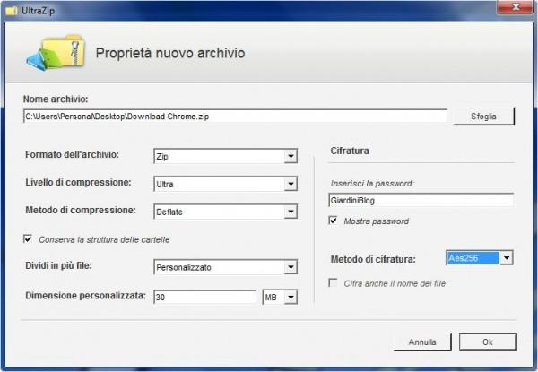 creare nuovo archivio programma per comprimere video
