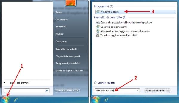 aprire windows update