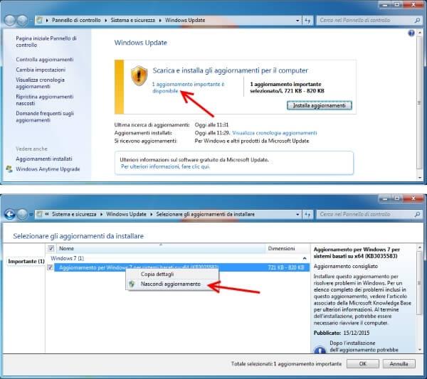 eliminare notifica windows 10 e bloccare aggiornamento KB3035583