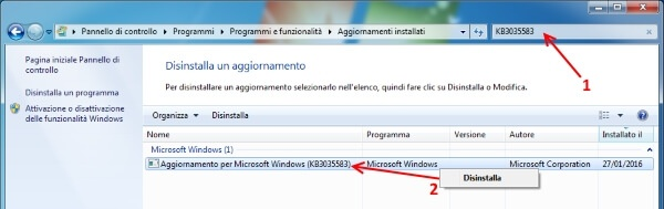 eliminare notifica windows 10 disinstallazione KB3035583