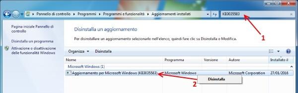 eliminare notifica windows 10 disinstallazione KB3035583