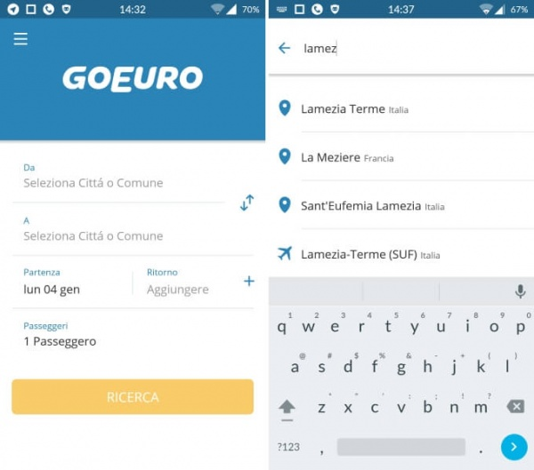 goeuro interfaccia