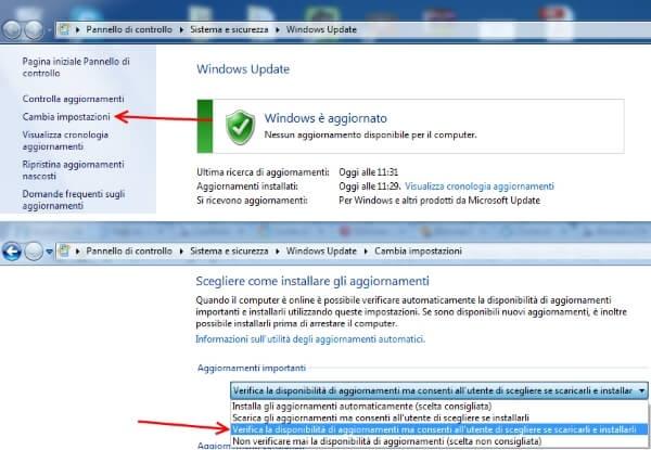 modificare opzione aggiornamenti windows update