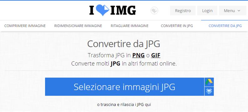 convertire immagini da jpg