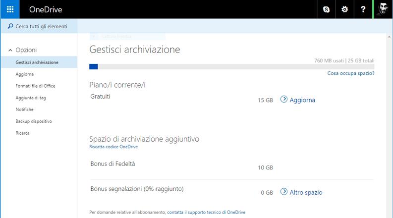 Aumentare spazio gratuito OneDrive Bonus segnalazioni