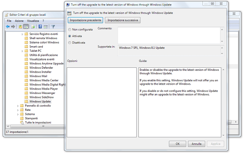 come disattivare aggiornamento a windows 10 pannello