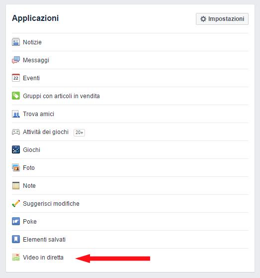 Vedere chi trasmette Video in diretta su Facebook applicazioni