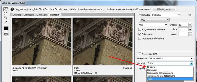 come rimuovere dati exif con photoshop