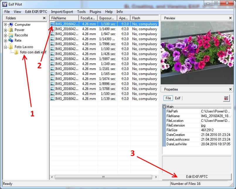 modificare informazioni registrate nelle foto dati exif