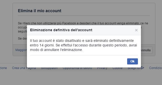 annullare eliminazione definitiva da facebook