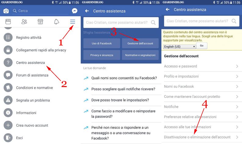centro assistenza facebook e gestione account