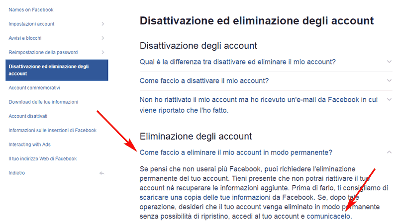 come-eliminare-account-facebook-definitivamente