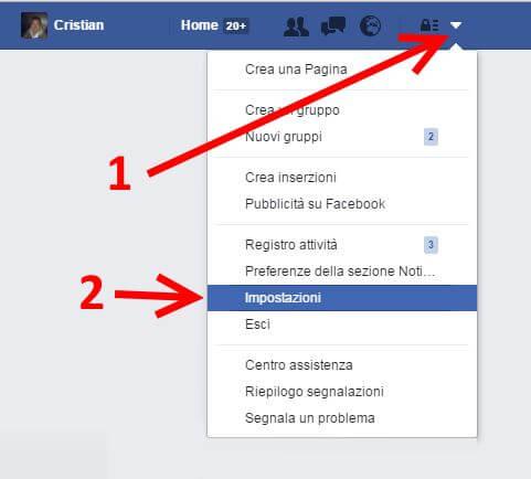 come eliminare account facebook impostazioni