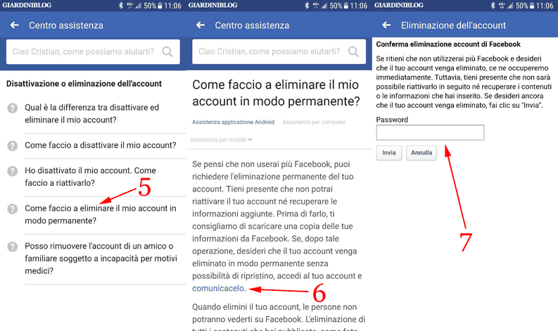 eliminare account e inserire password