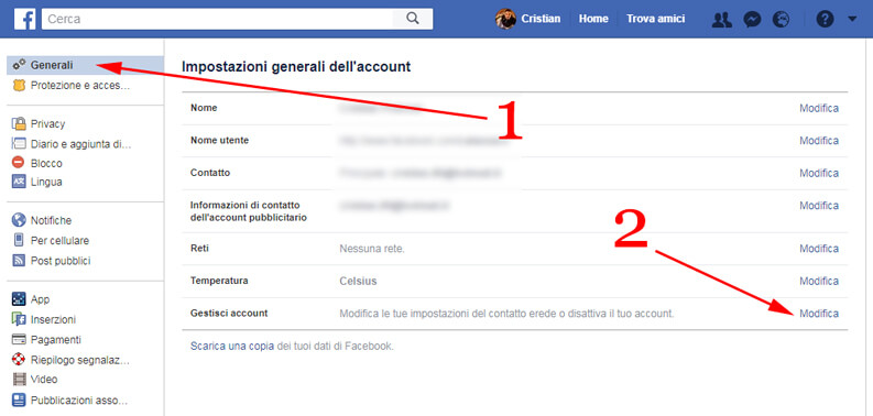 gestisci account facebook