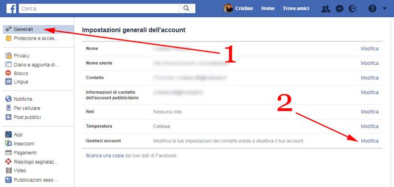 gestisci account facebook