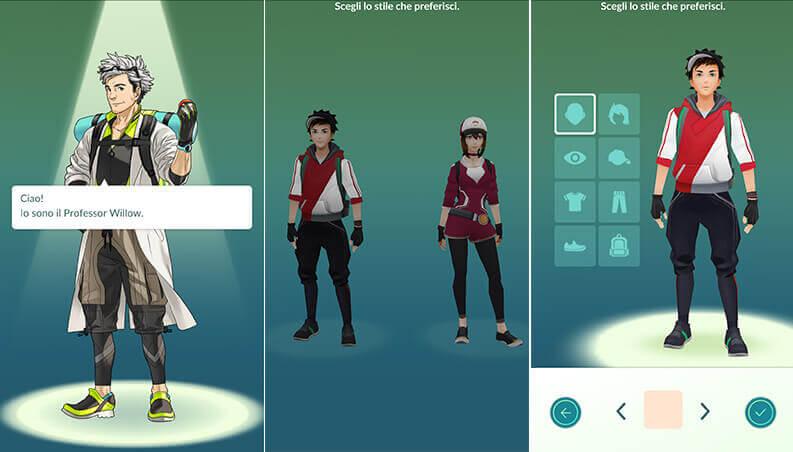 pokemon go crea personaggio