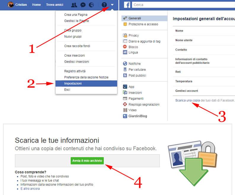 scaricare una copia dei tuoi dati di Facebook