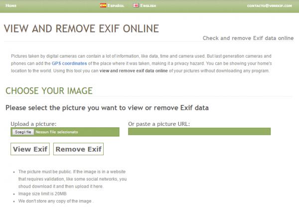 visualizzare eliminare informazioni foto online