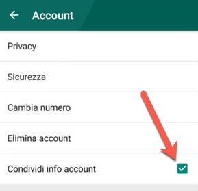 disattivare la condivisione dei dati WhatsApp con Facebook