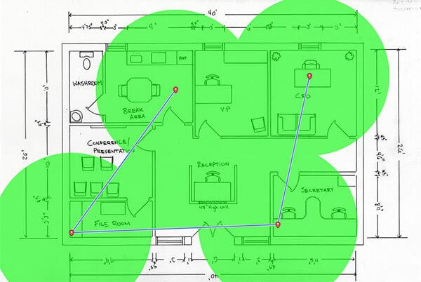 mappa per il segnale wifi