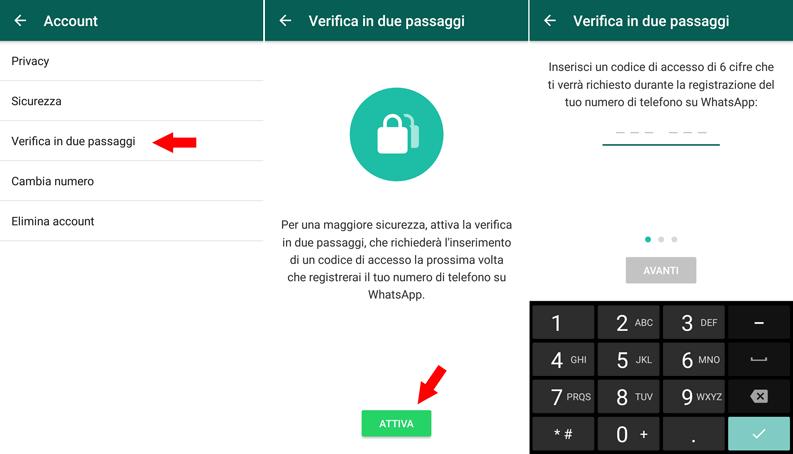 attivare verifica in due passaggi whatsapp